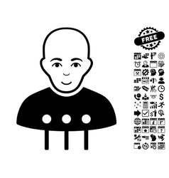 Cyborg interface flat icon with bonus vector