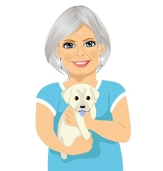 Elderly woman with her kind little labrador puppy vector