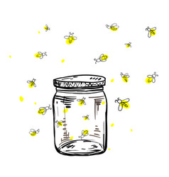 fireflies flying around the jar vector image vector image