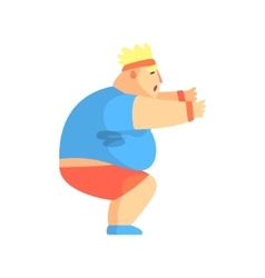 Funny Chubby Man Character Doing Sit Ups At Gym vector image