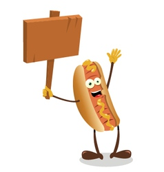 Funny hot dog sign vector