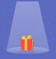 gift prize red box spotlight vector image