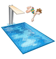 Girl diving down the swimming pool vector