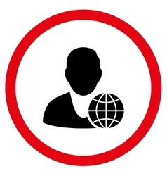 Global Manager Flat Rounded Icon vector image vector image
