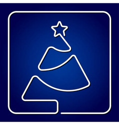 greeting card - contour Christmas tree with star vector image vector image
