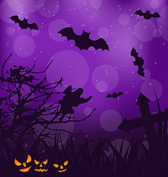 Halloween ominous background with pumpkins bats vector image vector image