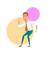 Happy dancing office worker vector