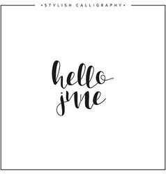 Hello june Time of year Phrase in english vector image vector image