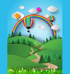 hot air balloon high in the sky with rainbow vector image vector image