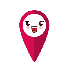 Kawaii location pin icon vector