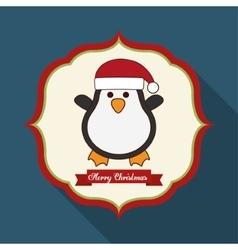 Kawaii penguin of christmas season vector