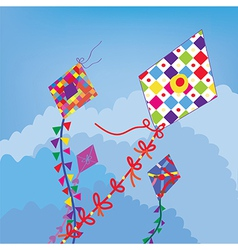 Kites in the sky funny design vector image vector image