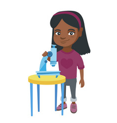 little african schoolgirl using a microscope vector image