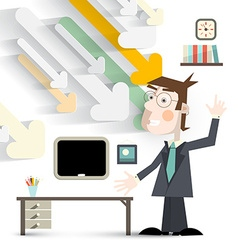 Man in Office in Suit with Paper Cut Arrows and vector image