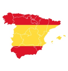 Map and flag of spain vector
