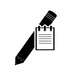 notepad and pencil icon vector image vector image