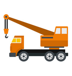 Orange truck crane icon isolated vector