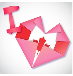 Origami paper i love canada heart card vector