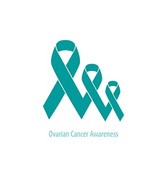 Ovarian Cancer Teal Ribbons flat design vector image
