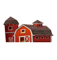 Red barn house on white background vector