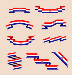 Ribbons or banners in colors of croatian flag vector