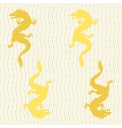 Seamless pattern with gold dragons vector image