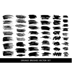 Set of black paint ink grunge dirty brush vector