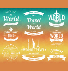 set of vintage travel badges and labels holiday vector image