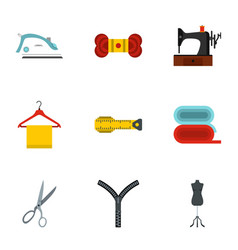 sewing icons set flat style vector image vector image