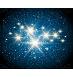 Shining Stars Blue Background vector image vector image