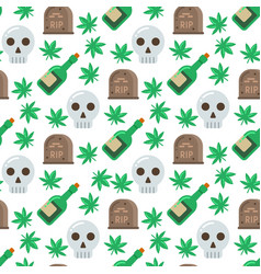 skull and alcohol seamless pattern vector image