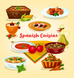 Spanish cuisine tasty dinner dishes cartoon icon vector