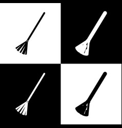 Sweeping broom sign black and white icons vector