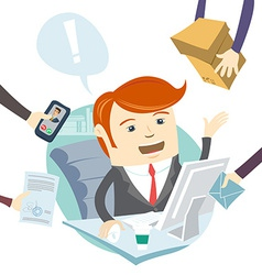 Very busy office man working hard vector image