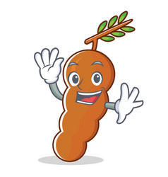 waving tamarind character cartoon style vector image