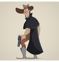 cowboy with gun funny cartoon character vector image