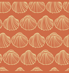 seashells seamless pattern orange vector image