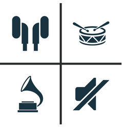 audio icons set collection of silence phonograph vector image