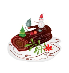 Traditional christmas cake or yule log cake vector