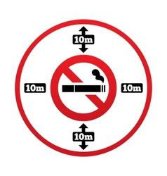 No smoking 10m distance sign Stop smoking vector image