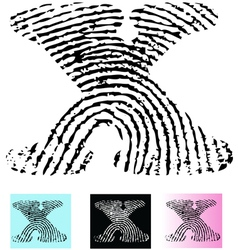 Fingerprint alphabet letter x vector