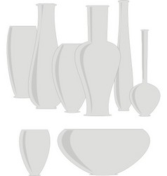 Isolated set  ceramics vases vector