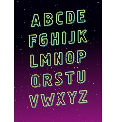 Neon tube glowing font alphabet vector