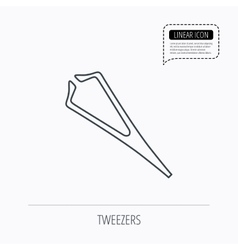 Medical tweezers icon cosmetic equipment sign vector