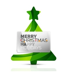 Christmas tree with message board vector