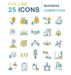 Set flat line icons business competition vector