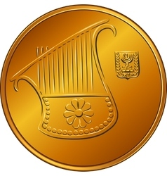 Gold israeli money half-shekel coin vector