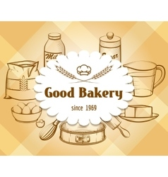Retro craft bakery badge in vintage engraving vector