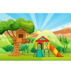 Treehouse and slides in the park vector