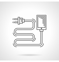 Charger cord flat line icon vector image